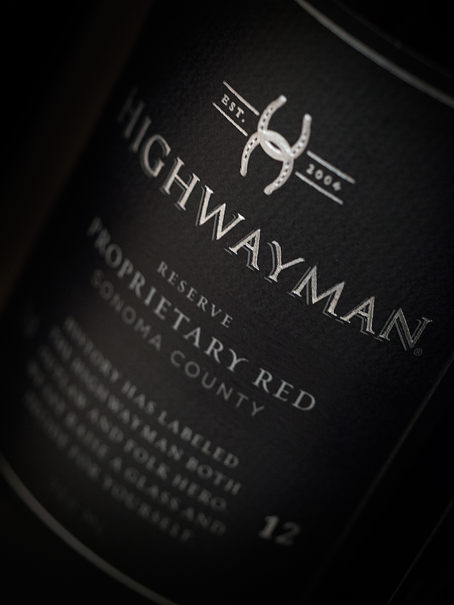 Highwayman Wine Label Design Closeup