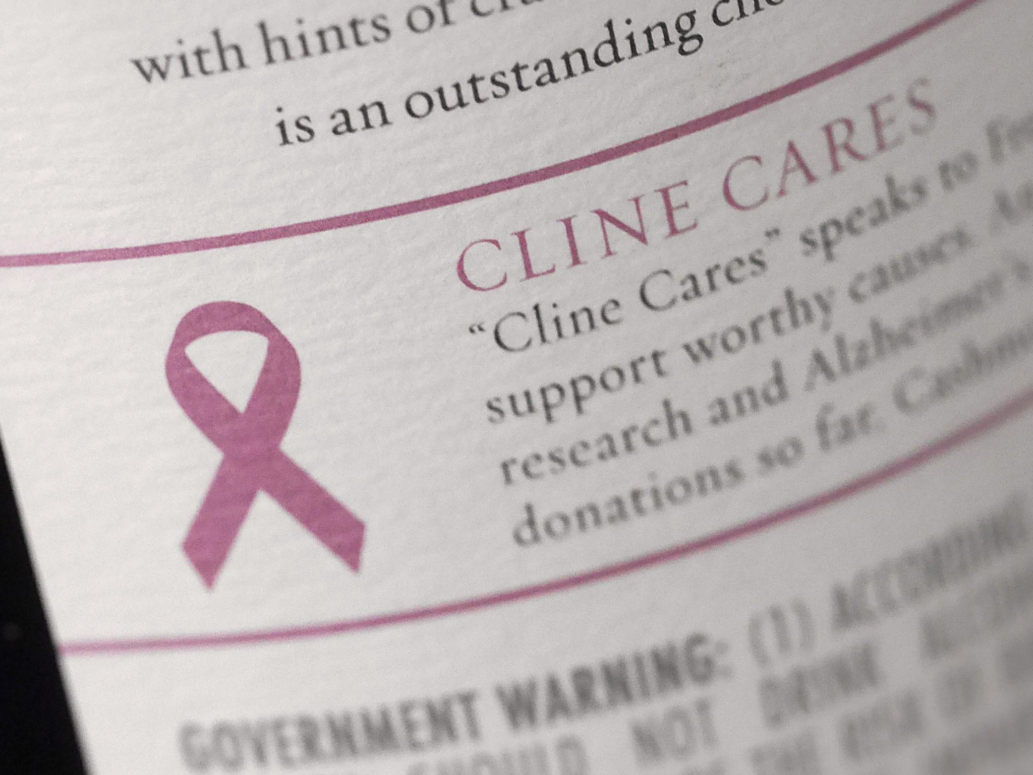 Cline Cares Cashmere Back Label