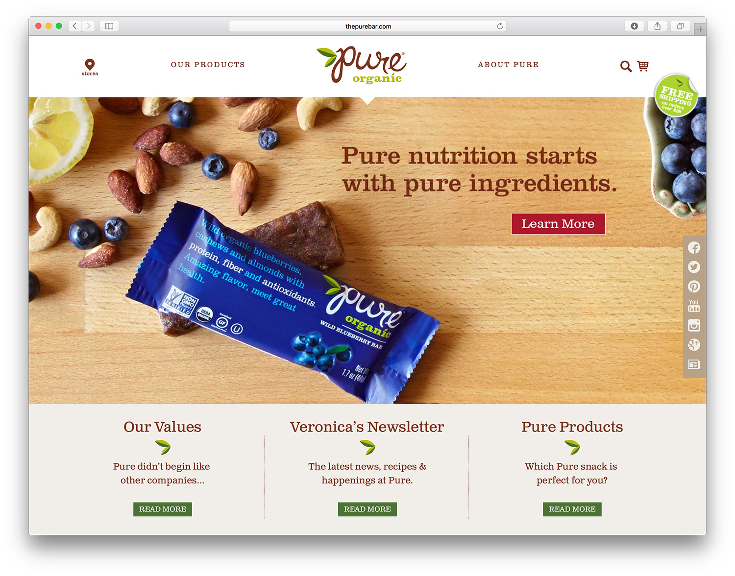 Pure Organics Website Design