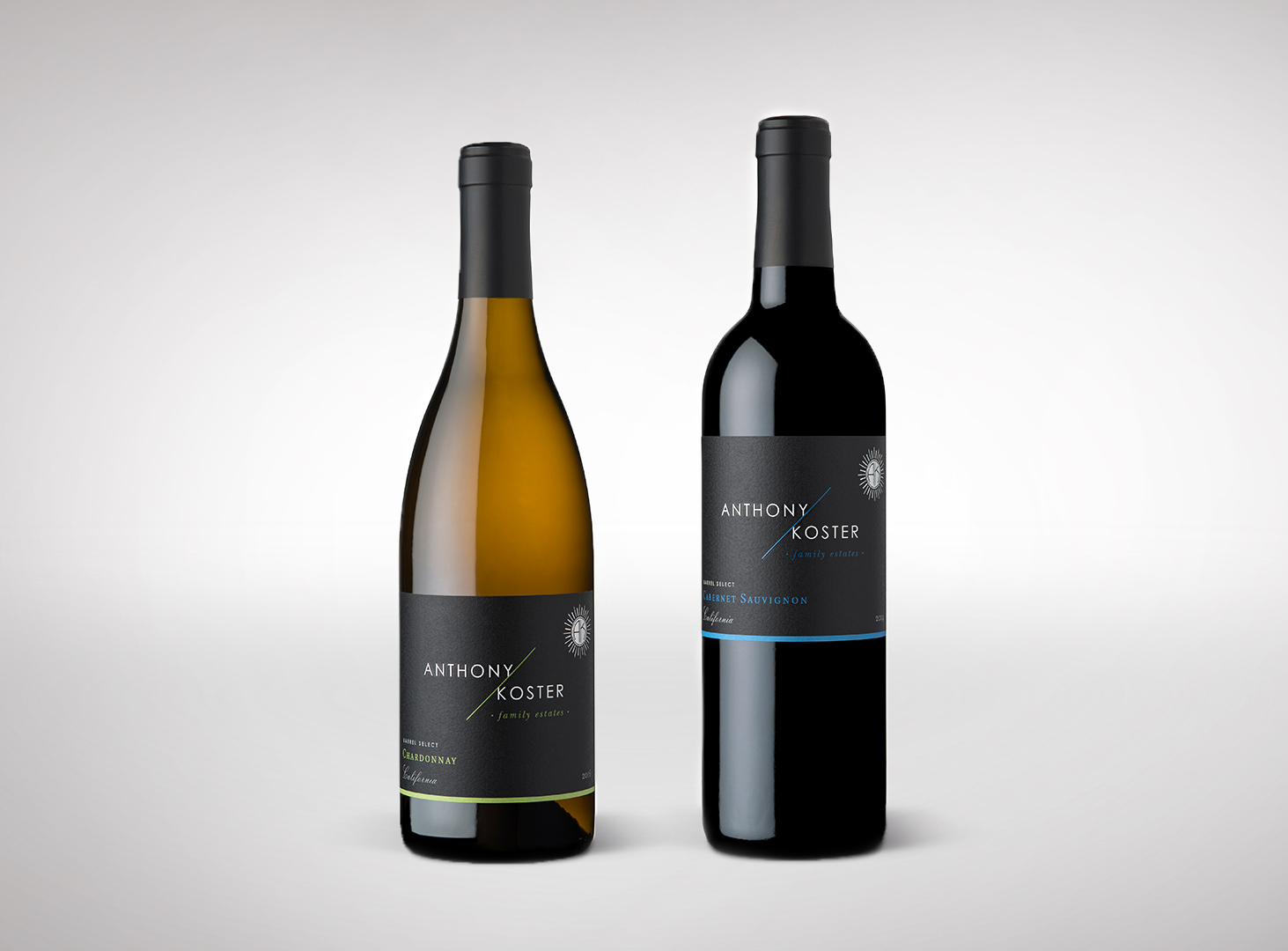 Anthony Koster Chardonnay and Cabernet Winery Direct Wine Labels for Grocery Outlet