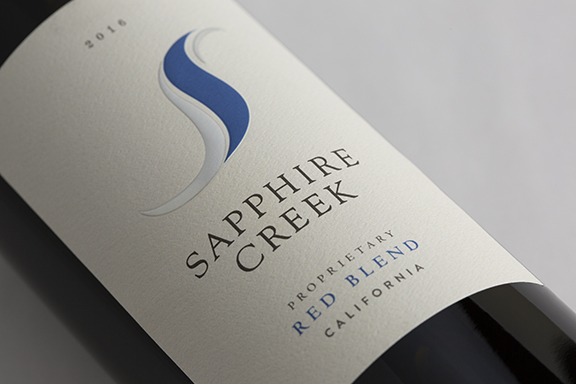 Sapphire Creek Red Blend Wine Label Design