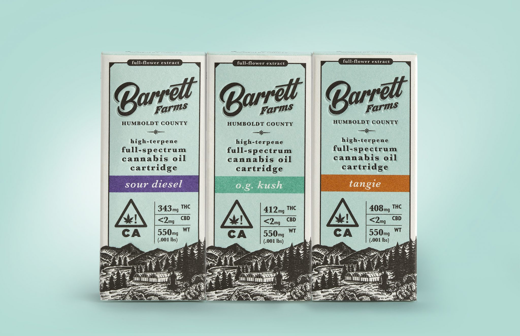 Barrett Farms Humboldt County High Spectrum Cannabis Oil Cartridge Packaging Design by Vertical in Santa Rosa, CA