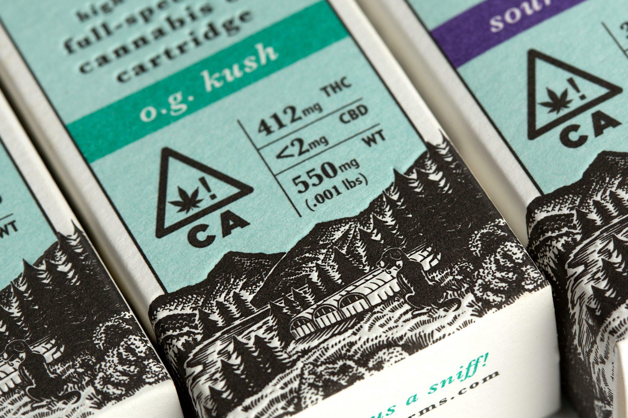 Barrett Farms Humboldt County High Spectrum Cannabis Oil Cartridge Compliant Packaging Design by Vertical in Santa Rosa, CA